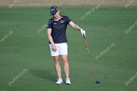 Annika Sorenstam, of Sweden, reacts after hitting from the 17th fairway during the final round of the Tournament of Champions LPGA golf tournament, in Lake Buena Vista, Fla