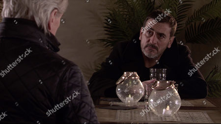 Stock Picture of Coronation Street - Ep 10234 Wednesday 27th January 2021 - 2nd Ep Ken Barlow, as played by William Roache, finds Peter Barlow, as played by Chris Gascoyne, drunk in a hotel bar but when he tries to take his drink off him, Peter lashes out.