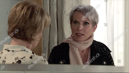 Coronation Street - Ep 10231 Monday 25th January 2021 - 1st Ep Debbie Webster, as played by Sue Devaney, swears blind that she didn't know anything about the bribery or the assault on Fay. Also Pictured - Sally Metcalfe, as played by Sally Dynevor.