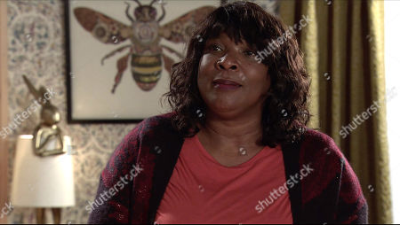Stock Image of Coronation Street - Ep 10231 Monday 25th January 2021 - 1st Ep Aggie Bailey, as played by Lorna Laidlaw, seizes the opportunity and gives Grace both barrels, telling her Michael's better off without her.