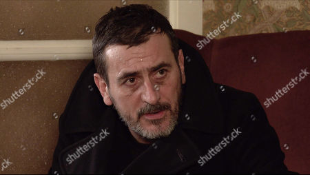 Stock Picture of Coronation Street - Ep 10238 Monday 1st February 2021 - 2nd Ep Sweating profusely and on the brink of another seizure, Peter Barlow, as played by Chris Gascoyne, admits to Carla Connor that he's been tipping his medicinal whisky down the sink when Ken's back is turned.