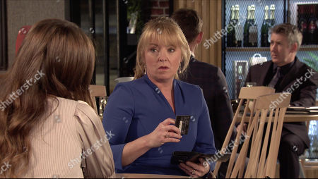 Stock Picture of Coronation Street - Ep 10240 Wednesday 3rd February 2021 - 2nd Ep At the bistro, Jenny Connor's, as played by Sally-Ann Matthews, flattered when a hot looking bloke checks her out. Devious Daisy Midgeley, as played by Charlotte Jordan, nips over and asks him for his phone number.