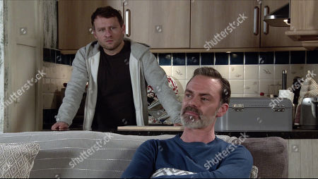 Coronation Street - Ep 10239 Wednesday 3rd February 2021 - 1st Ep Billy Mayhew, as played by Daniel Brocklebank, rows with Paul Ashdale, as played by Peter Ash, for getting embroiled with Will and so endangering Summer's life. Is their relationship over?