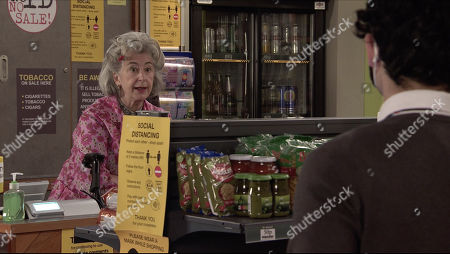 Coronation Street - Ep 10239 Wednesday 3rd February 2021 - 1st Ep When Aadi Alahan, as played by Adam Hassain, announces that he'll be conducting her performance review at lunchtime, Evelyn Plummer's, as played by Maureen Lipman, seriously unimpressed.