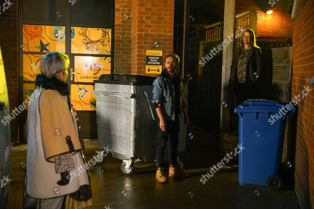 Stock Image of Coronation Street - Ep 10235 & Ep 10236 Friday 29th January 2021 Cornering Debbie Webster, as played by Sue Devaney, Tracy McDonald, as played by Kate Ford, reveals that David Platt, as played by Jack P Shepherd, can't afford to buy back No.8 so she'd like it instead. Debbie assures David he gets first refusal but she wants a quick sale. David masks his panic.