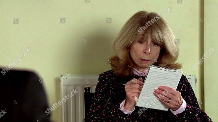 Coronation Street - Ep 10245 Wednesday 10th February 2021 - 1st Ep Gail Rodwell, as played by Helen Worth, discusses Ted's funeral arrangements with George Shuttleworth.