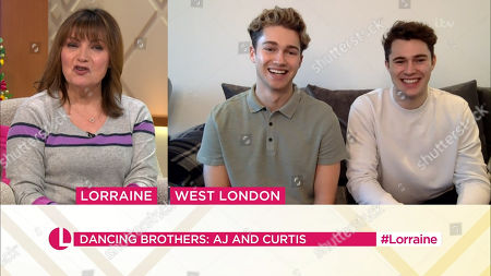 Stock Picture of Lorraine Kelly and AJ Pritchard and Curtis Pritchard