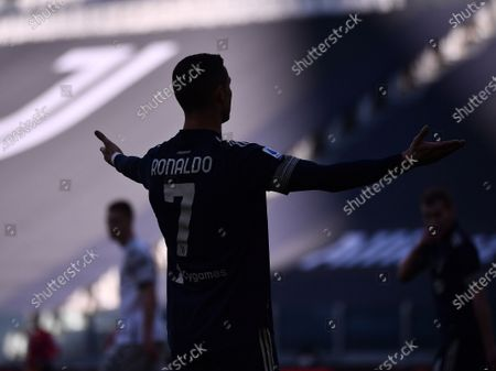 Stock Image of FC Juventus' Cristiano Ronaldo reacts during a Serie A football match between FC Juventus and Bologna in Turin, Italy, Jan. 24, 2021.