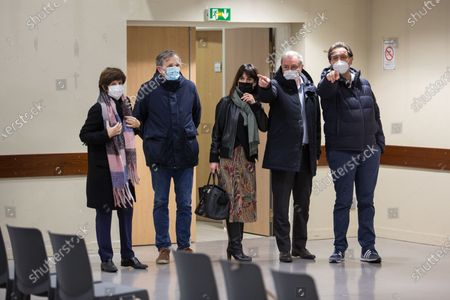 The mayor of Toulouse Jean Luc Moudenc (second from left) visits with Stephane Oustric (left) of the Ordre des Medecins a vaccination centre set up by the Toulouse City Council with the Order of Doctors to combat the global Coronavirus epidemic, Covid 19.
