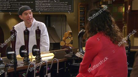 Emmerdale - Ep 8968 Friday 12th February 2021 Chas Dingle, as played by Lucy Pargeter, has a proposition fo, as played by Marlon Dingle, as played by Mark Charnock.