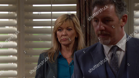 Emmerdale - Ep 8961 Thursday 4th February 2021 - 2nd Ep A revengeful Moira Dingle, as played by Natalie J Robb, enters Home Farm with a gun, real Greg hurries away as Moira turns the gun and pulls the trigger...... Also Pictured - Kim Tate, as played by Claire King.