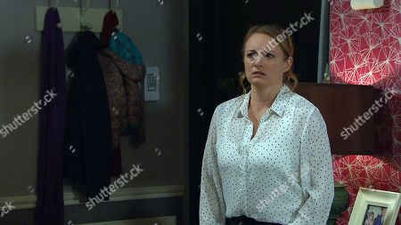 Emmerdale - Ep 8957 Monday 1st February 2021 Succumbing to temptation, Laurel Thomas knocks back a glass of vodka. Nicola King, as played by Nicola Wheeler, bursts in catching Laurel red-handed with the bottle. Shocked, Nicola's heart breaks for Laurel as she learns about the termination.