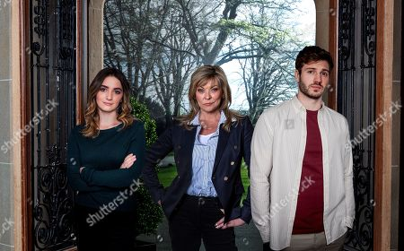 Emmerdale - Ep 8963 Monday 8th February 2021 Left to right - Gabby Thomas, as played by Rosie Bentham, Kim Tate, as played by Claire King, and Jamie Tate, as played by Alexander Lincoln.