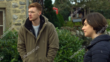 Emmerdale - Ep 8952 Tuesday 26th January 2021 Troubled Luke Posner, as played by Max Parker, once again tells Ethan that he isn't gay and overcompenstes with his affections for Victoria Sugden, as played by Isabel Hodgins, for Ethan's benefit.