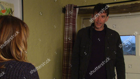 Emmerdale - Ep 8967 Thursday 11th February 2021 - 2nd Ep Rhona Goskirk, as played by Zoe Henry, and Marlon Dingle, as played by Mark Charnock, enjoy their romance but Rhona's reluctant about going public, claiming it's very early days.