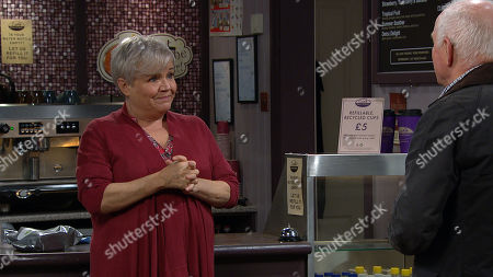 Emmerdale - Ep 8963 Monday 8th February 2021 Brenda Hope, as played by Lesley Dunlop, is touched when Pollard, as played by Chris Chittell, reveals he loves Brenda, and doesn't want the twins to think he's just a temporary arrangement.