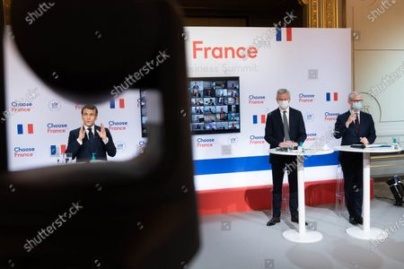 Editorial image of Macron chairs a video conference with foreign companies executives, Paris, France - 25 Jan 2021