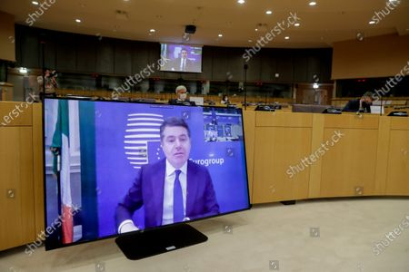 Eurogroup president Paschal Donohoe takes part in videoconference on a exchange of views during a Committee on Economic and Monetary Affairs at the European Parliament in Brussels, Belgium, 25 January 2021.