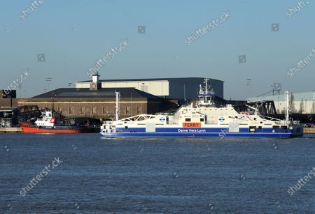 """We'll meet again some sunny day"" the Woolwich ferry Dame Vera Lynn, cruising past Tilbury this sunny afternoon on her way to Woolwich after routine service at Chatham Dockyard."