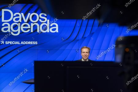 President and Member of the Managing Board of the World Economic Forum, WEF, Norwegian Borge Brende waits the connection with U.N. Secretary-General Antonio Guterres for a videoconference during the Davos Agend at the Davos Agenda, in Cologny, near Geneva, Switzerland, 25 January 2021. The Davos Agenda from 25 to 29 January 2021, is a online edition of the annual WEF meeting due to the coronavirus disease (COVID-19) outbreak and virtually gathers global leaders to shape the principles, policies and partnerships needed in this challenging new context.