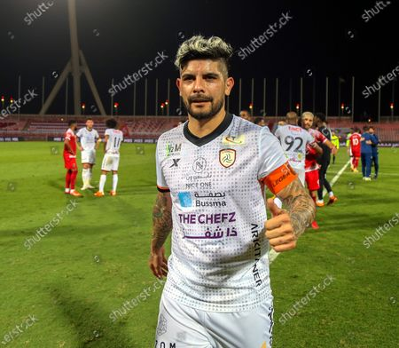 Al-Shabab's player Ever Banega gives a thumbs up after winning the Saudi Professional League soccer match between Al-Wehda and Al-Shabab at King Abdulaziz Stadium, Mecca, Saudi Arabia, 25 January 2021.