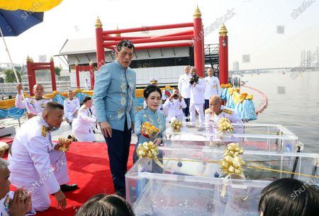 Thai King Maha Vajiralongkorn Bodindradebayavarangkun (C-L) accompanied by the Royal Consort Sineenat Wongvajirapakdi (C-R) release fishes into the Chao Phraya River during a merit-making ceremony to mark the Royal Consort's birthday at Wasukri pier in Bangkok, Thailand, 26 January 2021. Thai Royal Consort Sineenat was born on 26 January 1985.