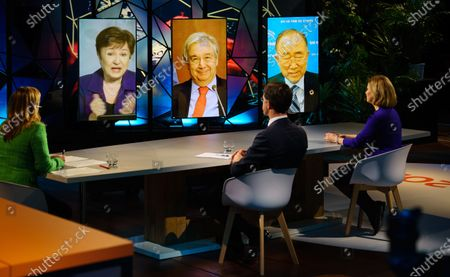 Photo taken in the Hague, the Netherlands, on Jan. 25, 2021 shows screens displaying International Monetary Fund (IMF) Managing Director Kristalina Georgieva, United Nations Secretary-General Antonio Guterres and Ban Ki-moon, former secretary-general of the United Nations, and co-chair of the Global Commission on Adaptation  (L-R), attending the opening session of the Climate Adaptation Summit 2021 via video link. Leaders from all over the world opened here the first online international Climate Adaptation Summit (CAS) 2021 on Monday. Hosted by the Dutch government, the two-day summit aims to adopt a roadmap for a decade of transformation towards a climate-resilient future by 2030.