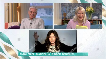 Stock Image of Phillip Schofield, Holly Willoughby and Anna Friel