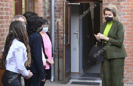 Queen Mathilde visit to Le Toboggan Centre For Girls, Brussels