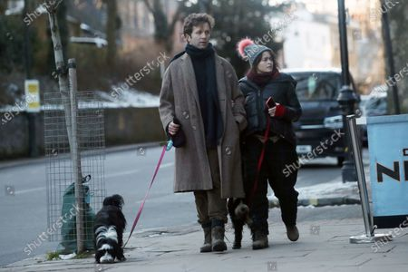 Exclusive - Helena Bonham Carter and Rye Dag Holmboe are seen walking their dogs
