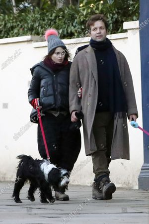 Stock Image of Exclusive - Helena Bonham Carter and Rye Dag Holmboe are seen walking their dogs