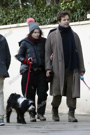 Stock Picture of Exclusive - Helena Bonham Carter and Rye Dag Holmboe are seen walking their dogs