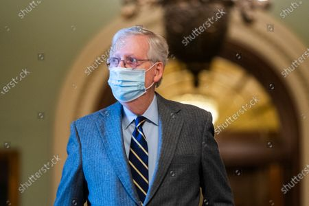 Republican Senate Minority Leader Mitch McConnell walks off the Senate floor in the US Capitol in Washington, DC, USA, 26 January 2021. Senate Majority Leader Chuck Schumer said the Senate trial against former US President Donald J. Trump, on incitement of a mob attack against the US Capitol, will begin the week of February 08.