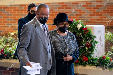 """Billye Aaron arrives for """"A Celebration of Henry Louis Aaron,"""" a memorial service celebrating the life and enduring legacy of the late Hall of Famer and American icon,, at Truist Park in Atlanta"""
