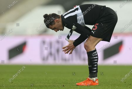 Fabian Schar of Newcastle reacts at the end of the English Premier League soccer match between Newcastle United and Leeds United in Newcastle, Britain, 26 January 2021.