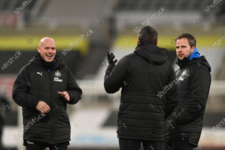 Stock Photo of Stephen Clemence (R), Steve Harper (C) and Steve Agnew (L), coaching staff of Newcastle, before the English Premier League soccer match between Newcastle United and Leeds United in Newcastle, Britain, 26 January 2021.