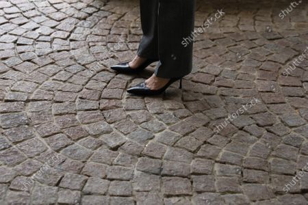 Stock Picture of Vice President Kamala Harris's shoes are seen as swears-in Treasury Secretary Janet Yellen at the White House in Washington, DC on January 26, 2021. Yellen is the first woman to serve as Treasury Secretary.