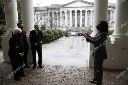 Editorial picture of Janet Yellen is sworn in by VP Harris, Washington DC, USA - 26 Jan 2021