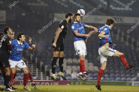 Michael Jacobs of Portsmouth heads the ball during the EFL Sky Bet League 1 match between Portsmouth and Lincoln City at Fratton Park, Portsmouth