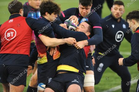 Zander Fagerson - Scotland prop tackled by Grant Gilchrist.