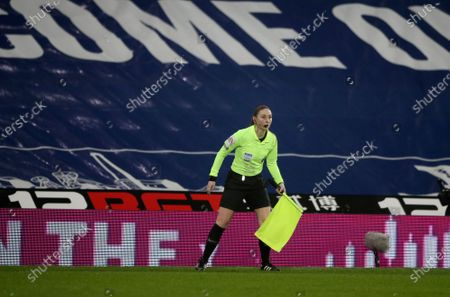 Assistant referee Sian Massey-Ellis during the English Premier League soccer match between West Bromwich Albion and Manchester City at the Hawthorns stadium in West Bromwich, England