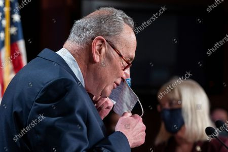 Democratic Senate Majority Leader Chuck Schumer speaks to the media about the upcoming impeachment trial of former President Trump in the US Capitol in Washington, DC, USA, 26 January 2021. Schumer said the Senate trial, on incitement of a mob attack against the US Capitol, will begin the week of February 08.