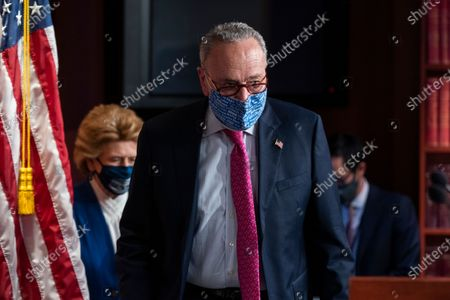Democratic Senate Majority Leader Chuck Schumer prepares to speak to the media about the upcoming impeachment trial of former President Trump in the US Capitol in Washington, DC, USA, 26 January 2021. Schumer said the Senate trial, on incitement of a mob attack against the US Capitol, will begin the week of February 08.