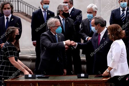 Editorial image of President Sebastian Pinera receives his Argentine counterpart Alberto Fernandez in Santiago, Chile - 26 Jan 2021