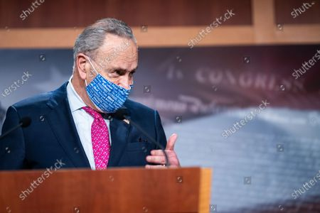 Senate Majority Leader Charles E. Schumer (D-NY) answers questions from members of the press during a press conference on Capitol Hill on Tuesday, Jan. 26, 2021 in Washington, DC. (Kent Nishimura / Los Angeles Times)