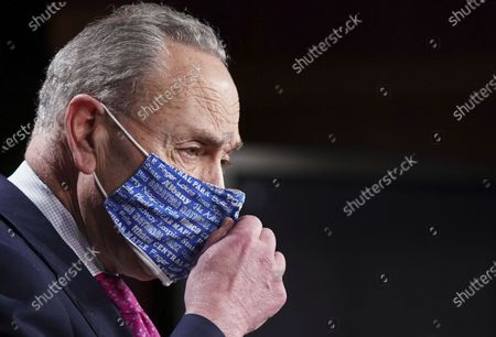 U.S. Senate Majority Leader Chuck Schumer (D-NY) speaks during a press conference at the U.S. Capitol in Washington, DC on Wednesday, January 26, 2021. Today on Capitol Hill, senators will be sworn in as jury for the impeachment of former President Donald Trump.