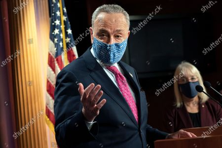 Senate Majority Leader Chuck Schumer of N.Y., left, speaks during a news conference next to Sen. Patty Murray, D-Wash., on Capitol Hill in Washington