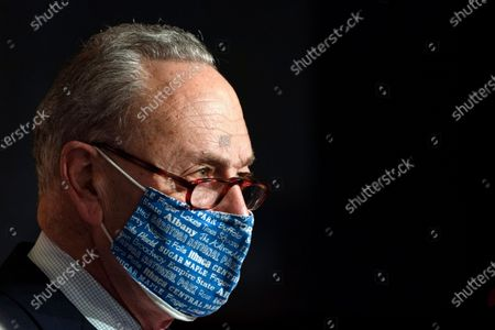Senate Majority Leader Chuck Schumer of N.Y., attends a news conference, on Capitol Hill in Washington