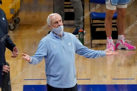 North Carolina head coach Roy Williams as his team plays against Pittsburgh during an NCAA college basketball game, in Pittsburgh