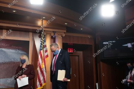 Editorial image of United States Senate Majority Leader Chuck Schumer (Democrat of New York) holds a news conference at the U.S. Capitol., Washington, District of Columbia, USA - 26 Jan 2021